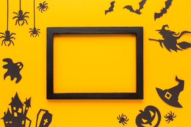 Elementos de festa de halloween com moldura de maquete