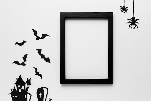 Elementos de festa de halloween com moldura