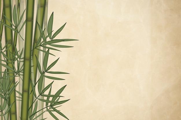 Elementos de folha de bambu marrom
