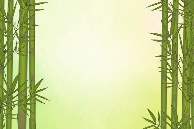 Elementos de folha de bambu verdes