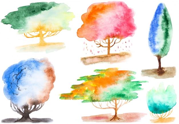 Elementos de forma de árvore em aquarela pintados à mão