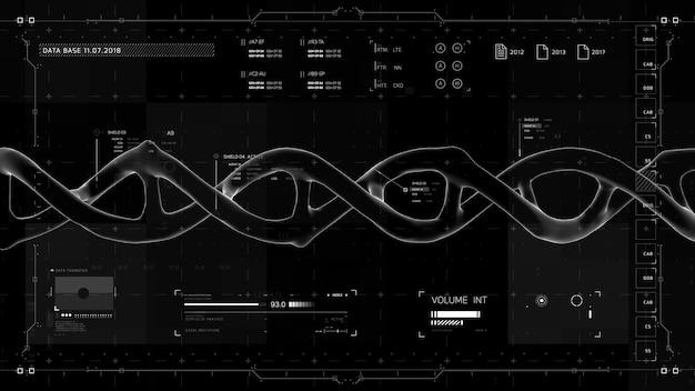 Elementos de infográfico em preto e branco com estrutura de dna interface de usuário futurista abstrato virtual