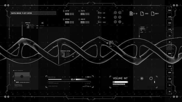 Elementos de infográfico preto e branco com estrutura de dna. interface de usuário futurista. gráfico virtual abstrato