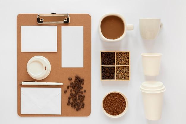 Elementos de marca de café plana lay