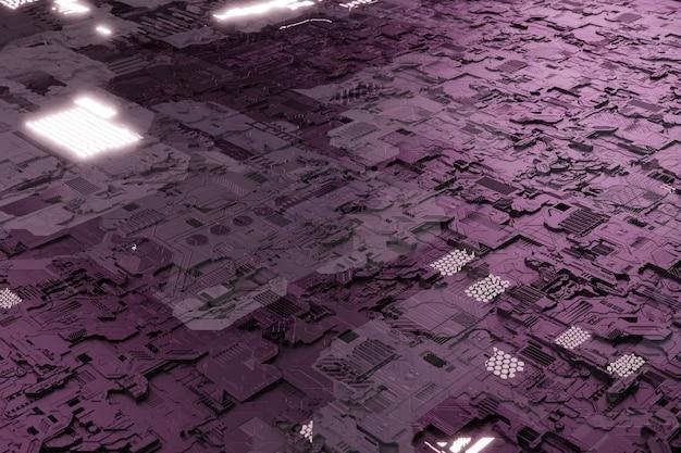 Elementos de neonglow no fundo do chip do sistema da placa-mãe com uma placa de circuito futurista