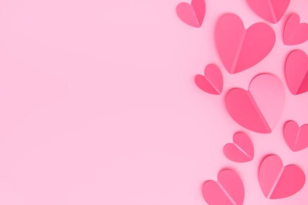 Elementos de papel em forma de coração em fundo rosa. símbolos de amor no dia dos namorados, convites de romance de casamento.