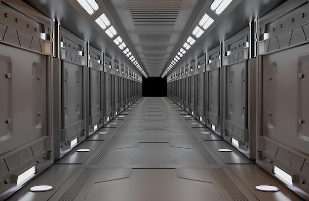 Elementos de renderização 3d desta imagem mobiliado, interior metálico da nave espacial com vista, túnel, corredor, espaço claro da cópia, ninguém