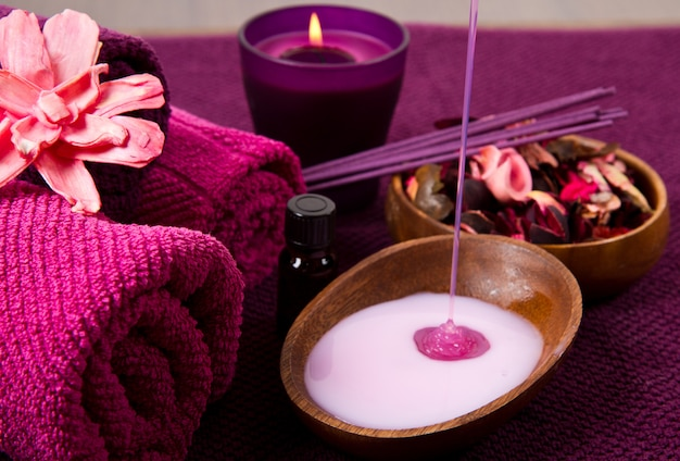 Elementos de spa em rosa
