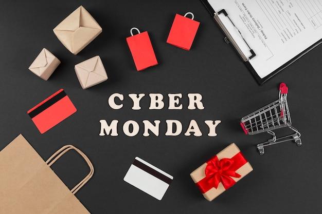 Elementos de venda de evento de cyber monday em fundo preto