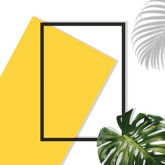 Elementos de verão sombra em folha de palmeira e monstro tropical um papel em branco amarelo moldura em um cinza pastel bac