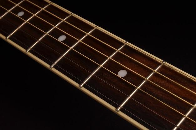 Elementos de violão de perto