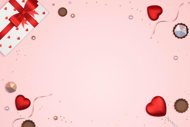 Elementos do dia dos namorados em rosa