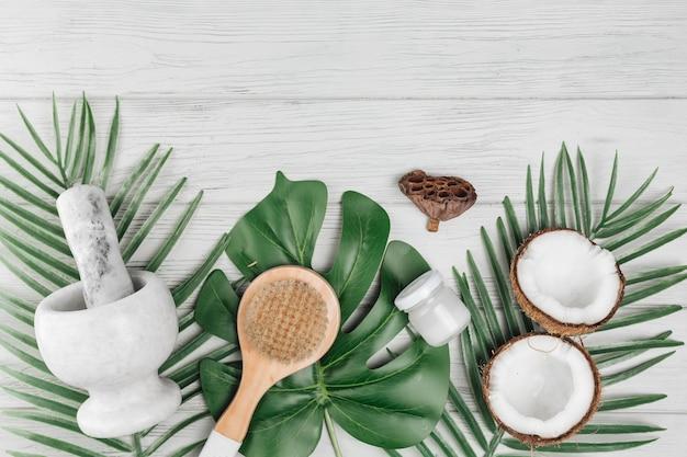 Elementos naturais para spa com coco