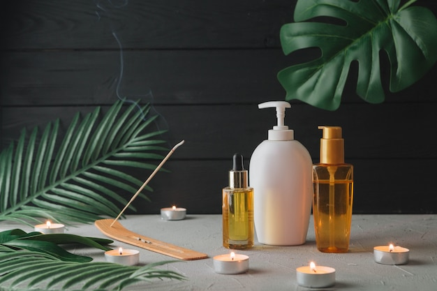 Elementos naturais para spa com creme de beleza