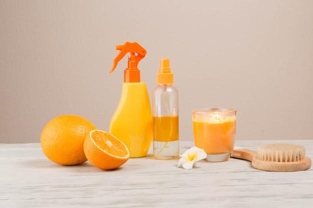 Elementos naturais para spa com laranjas