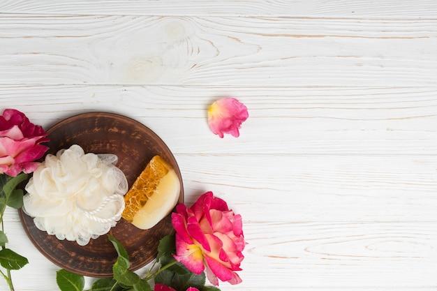 Elementos naturais para spa com sabão