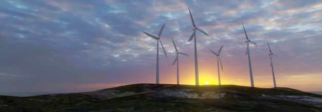 Eletricidade das turbinas eólicas ao pôr do sol nublado - renderização 3d