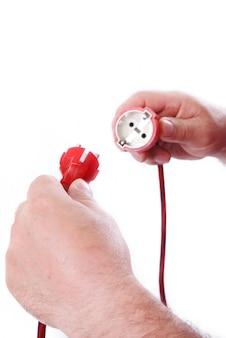 Eletricidade nas mãos masculinas Foto Premium