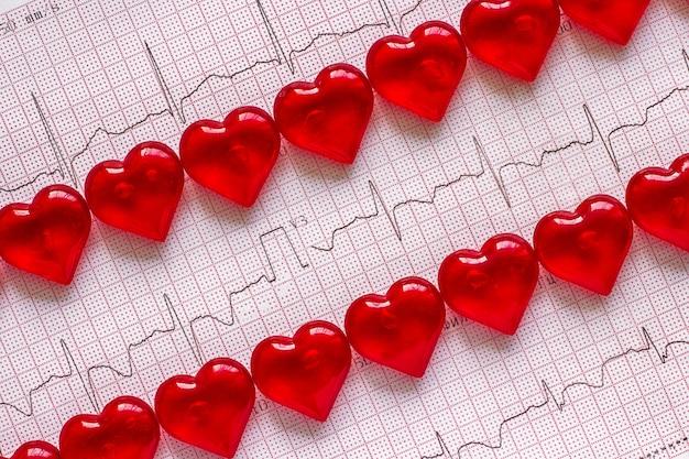 Eletrocardiograma e corações vermelhos.