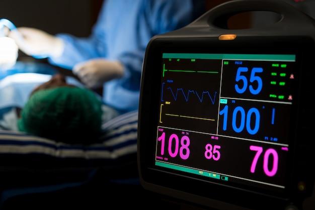 Eletrocardiograma, em, cirurgia hospitalar, operando, quarto emergência, mostrando, paciente, ritmo cardíaco
