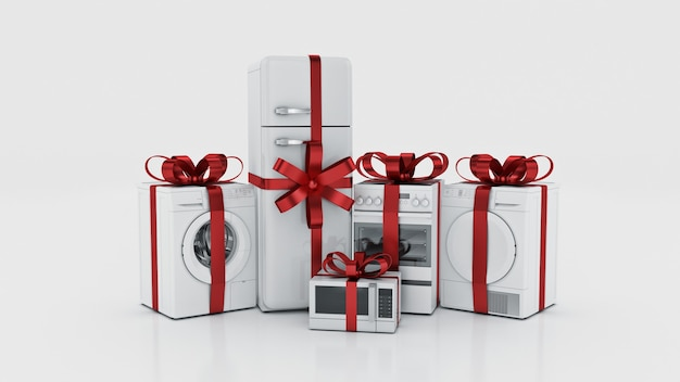 Eletrodomésticos conjunto de técnicas de cozinha doméstica renderização em 3d