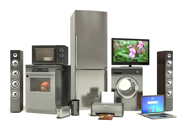 Eletrodomésticos. fogão a gás, cinema com tv, geladeira, ar condicionado, microondas, laptop e máquina de lavar