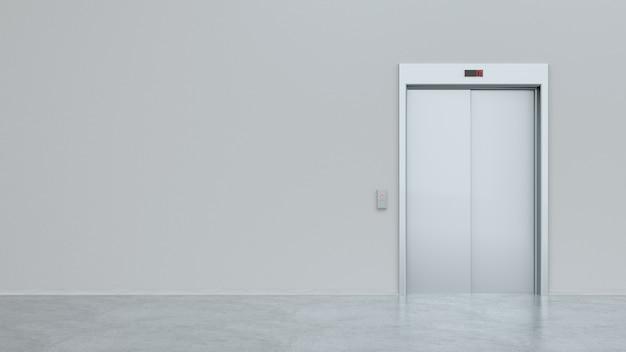 Elevador de prata em branco fechado em simulação de interior de piso de escritório, vista frontal