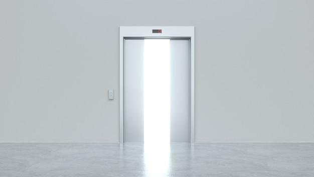 Elevador moderno com portas de metal semiabertas