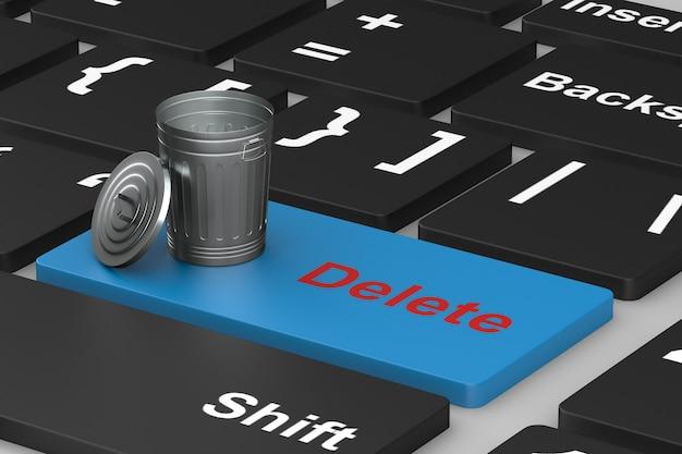 Eliminação de botão no teclado. ilustração 3d