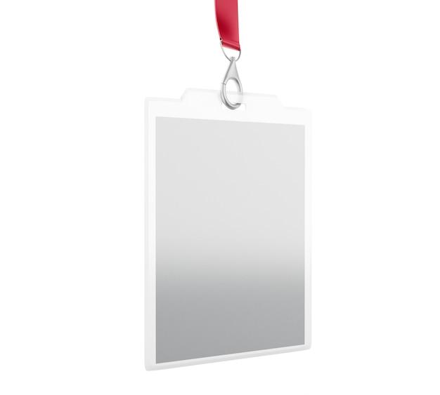 Em branco branco crachá com lugar para foto e texto