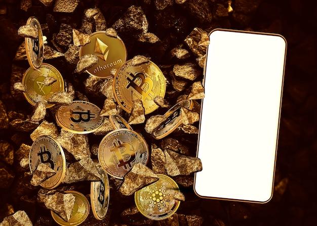 Em branco da tela do celular no fundo de moedas criptográficas