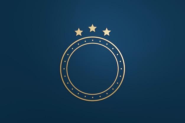 Em branco estrela logotipo ou emblema distintivo em design de luxo com cor dourada sobre fundo azul escuro. renderização em 3d.