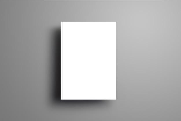 Em branco universal fechado a4, brochura (a5) com sombras suaves realistas isoladas na superfície cinza. vista superior.