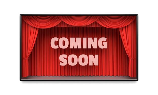 Em breve cartaz com cortinas de palco vermelho ilustração 3d