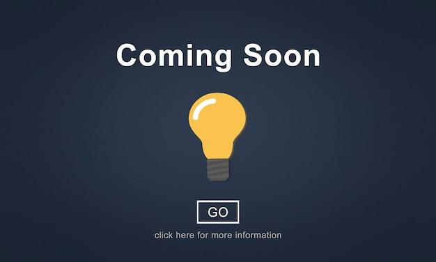 Em breve, conceito de anúncio de promoção de abertura