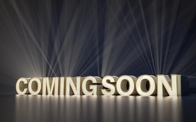 Em breve fundo premium de renderização 3d para postagem de banner em mídia social