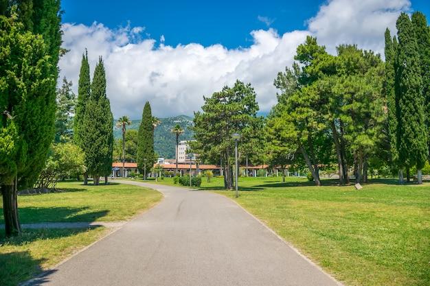 Em budva, há um parque pitoresco perto do aterro. montenegro.