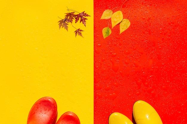 Em fundos molhados brilhantes são botas de borracha coloridas. e na ponta das botas e no lado oposto há folhas de outono.