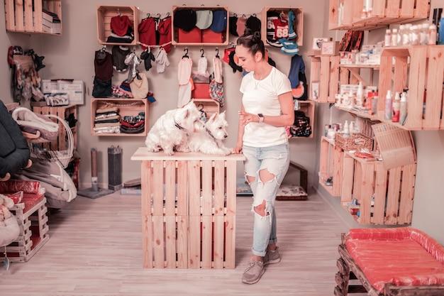 Em pé perto de cães. mulher jovem de cabelos escuros trabalhando em uma loja de animais de estimação perto de cachorros