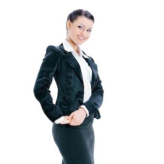 Em pleno crescimento. mulher de negócios confiante. isolada em fundo branco