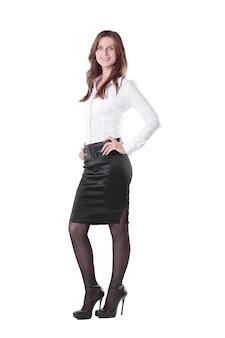 Em pleno crescimento. mulher de negócios executiva isolada em fundo branco.