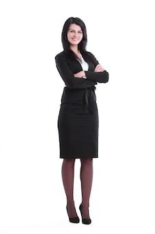 Em pleno crescimento. mulher de negócios jovem confiante. isolado no branco
