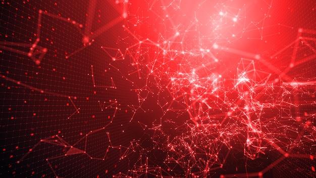 Em rede digital vermelha e papel de parede em rede digital.