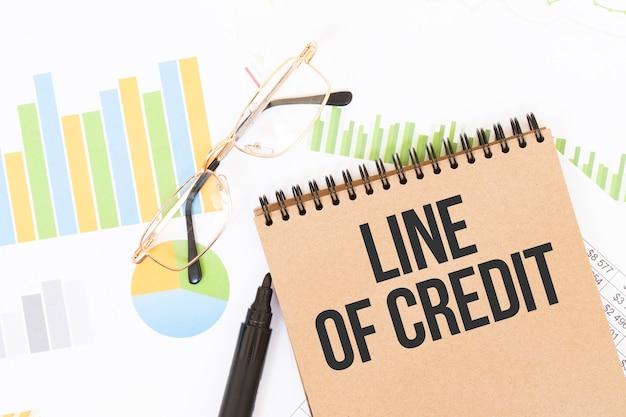 Em um caderno de cores artesanal há uma inscrição de linha de crédito, ao lado de lápis, óculos, gráficos e diagramas.