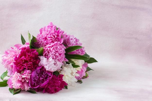 Em um fundo rosa um buquê de peônias