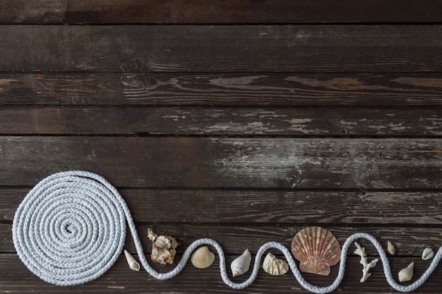 Em uma mesa de madeira decoração do mar: conchas, coral, corda