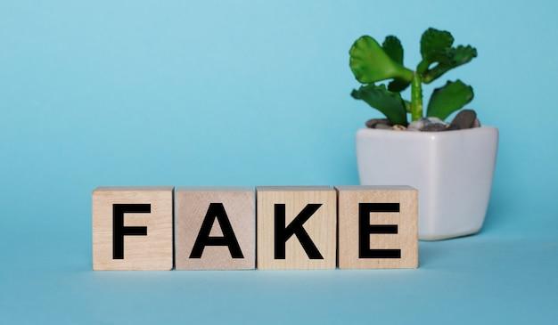 Em uma superfície azul, em cubos de madeira perto de uma planta em um vaso, está escrito falso