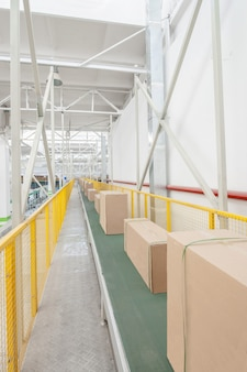 Embalado caixas de papelão de engenharia elétrica em uma correia transportadora na fábrica