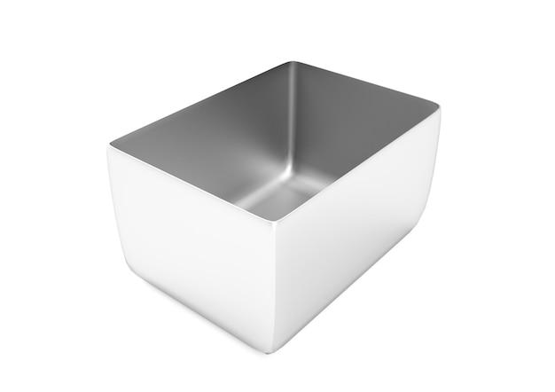Embalagem de lata quadrada de prata 3d render. chá, café, produtos secos, mock-up