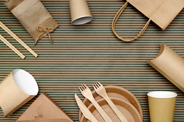Embalagem de papel para fast food e talheres descartáveis de materiais ecológicos